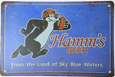 "Hamm'S Hamms Beer Football Bear Sky Blue Waters Tin Metal Sign Bar Pub 12x8"" New"