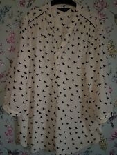 Dorothy Perkins Cream black Bird Print chiffon Blouse Size 18