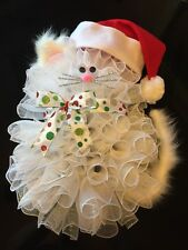 "24"" x 17"" Handmade Christmas Deco Mesh Cat Wreath With Bow & Santa Hat"