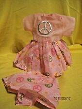 "Handmade peace dress and shorts outfit fits 11-12"" baby dolls"