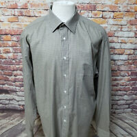 CANALI MEN'S PLAID LONG SLEEVE DRESS SHIRT SIZE 17 (43)  ITALY   C02-18