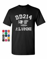 DD214 Alumni Distressed American Flag T-Shirt Military Veteran Mens Tee Shirt
