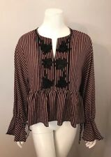 Everly Red Black Striped Crochet Appliqué Tie Sleeve Blouse Size S