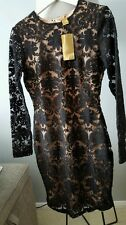 BNWT H&M STUNNING  BLACK NUDE LACE PARTY  FITTED PENCIL  DRESS SIZE UK 14 EUR40