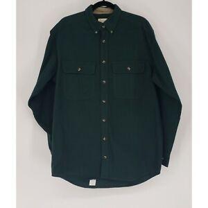 Cabela's Men's Shirt Soft Heavyweight Flannel Long Sleeve Green Button Down EUC