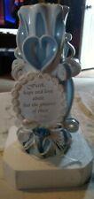 "Blue & White ""Faith"" Wedding unity candle w/ Heart, pretty, box is damaged"