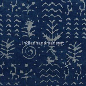 Indigo Blue Hand Block Dabu Print Fabric 100% Pure Cotton Batik Quilting Fabric