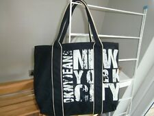 DKNY Ladies Black Large Canvas Logo Tote Shopping Weekend Bag 19IN X 16IN