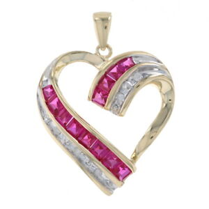 Yellow Gold Synthetic Ruby & Diamond Ribbon Heart Pendant - 10k Square 1.65ctw