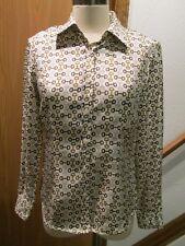 J.Mc Laughlin Beige Horsebit Button Front Long Sleeve Top Blouse Size 6