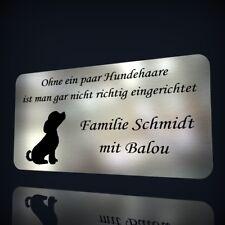 EDELSTAHL TÜRSCHILD NAMENSSCHILD MIT LASERGRAVUR: HUNDEMOTIV & TEXT NACH WUNSCH