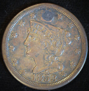1853 Braided Hair Half Cent, Extremely Fine Details, Plugged, Free Ship, C4718