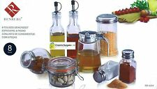 Renberg RB-4254 Glass Condiment Set 8 Piece Set Oil Vinegar Bottle Salt & Pepper