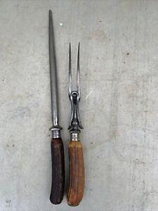 Vintage Stag Antler Horn Handle Carving Fork & Sharpener Steel