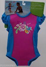 Speedo Bodysuit Pink Blue Girls Warmer Size 12-24 months 18-33 lbs NWT