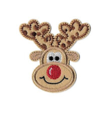 Christmas - Reindeer - Red Nose - Rudolph - Embroidered Iron On Applique Patch