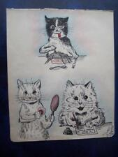 Raymond Sutherland Ink & Wash Drawings After Louis Wain 7 x 8.5 inch