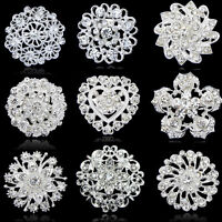 2019 Crystal Rhinestone Flower Wedding Bridal Bouquet Silver Flower Brooch Pin