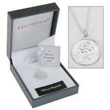 Equilibrium Silver Plated Child St Christopher Necklace Christening Gift 49781