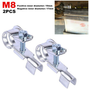 2PCS M8 Car SUV Truck Battery Cable Clamp Terminal Connector Head 17-19mm Copper