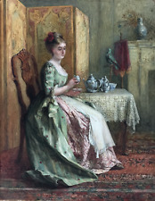 CHARLES JAMES LEWIS (1830 - 1892) SIGNED ANTIQUE WATERCOLOUR, READING THE TEA