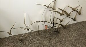 "CURTIS JERE LARGE 56"" BRONZE BIRDS IN FLIGHT SCULPTURE 1988"