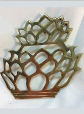 "Brass Collectors 7""x 7"" Welcome Pineapple Shaped Trivet From India"