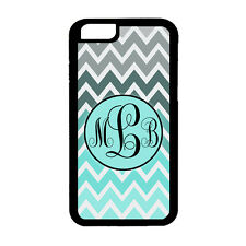 For Apple iPhone 6 6s Chevron Teal Turquoise Monogram Rubber Phone Case Black
