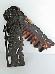 Antique Mexican Carved and Cut Out Aztec Warrior Folding Hair Comb