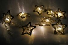 LED-Lichterkette - Stern Lichterkette LED warm weiß x10 ca 1m mit Timer gold