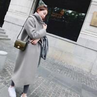 Winter Warm Women Wool Lapel Long Coat Trench Parka Jacket Overcoat Outwear N200