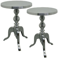 PAIR/ALUMINIUM METAL TABLES 45CM ROUND WINE LAMP SIDE END OCCASIONAL MODERN
