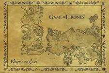 HBO TV TELEVISION SERIES GAME OF THRONES OLD ANTIQUE MAP POSTER PRINT NEW 36X24