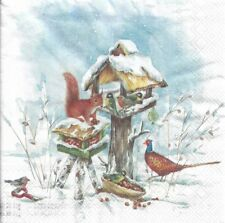 Lot de 4 Serviettes en papier Oiseau Nichoir Hiver Decoupage Collage Decopatch