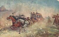 1907 VINTAGE STAGECOACH & HORSES with HOLDUP ATTACKERS POSTCARD