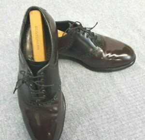 Florsheim Mens 8.5 EEE Saddle Shoe Black & Burgundy Leather Oxford
