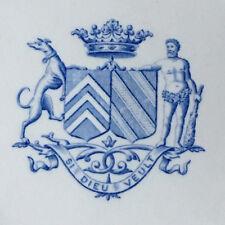 Assiette Faience Clain et Perrier 19éme Décor Peint armoiries couronne Vicomte