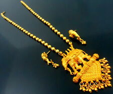 BAAHUBALI ELEPHANT GOLD TONE NECKLACE EARRINGS SET TEMPLE SOUTH INDIAN JEWELRY