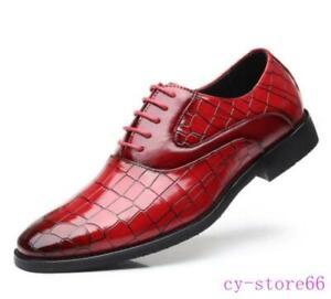 Men's Crocodile Leather Oxfords Lace Up Crack Wedding Formal Dress Shoes British