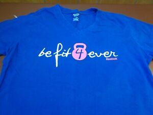 Be Fit Forever  Reebok Women's T Shirt  Blue V Neck  Large    F36