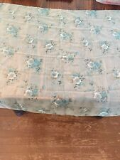 Vintage Sheer Scarf Light Green Blue White Floral FREE SHIP  18