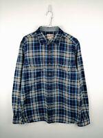 Vintage Mens Flannel Shirt GAP Jeans Size M Blue Check 100% Cotton Button Up Top