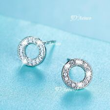 925 sterling silver made with Swarovski crystal stud earrings round circle cute