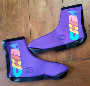 Vintage Chiba Cycling Large Shoe Covers Purple Neoprene L