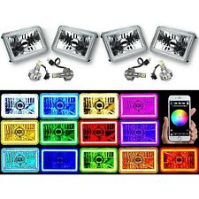 "4X6"" BLUETOOTH Color Change RGB SMD Halo Angel Eye Headlight LED Light Bulbs Set"