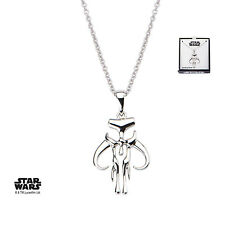 Star Wars Mandalorian Symbol Cut Out Women's 925 Sterling Silver Pendant w Chain