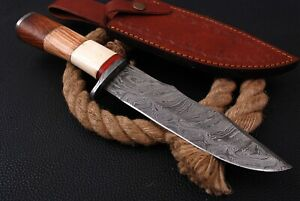 """13""""Custom HANDMADE FORGED DAMASCUS STEEL HUNTING Fix Blade Bowie KNIFE  Camping"""