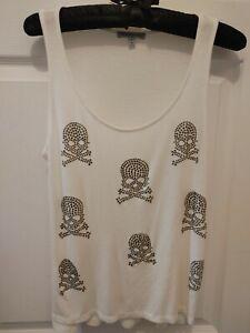 Charlotte Russe Women's Size Small Skull White Sleeveless Tank Top Embellished