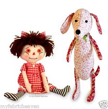 Rag Doll & Dachshund Dog 2 X Soft Toy Fabric Sewing PATTERNS Independent Design