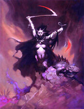 "FRANK FRAZETTA Fantasy Art Prints Canvas Texture Finish""Woman With A Scythe""2.5"